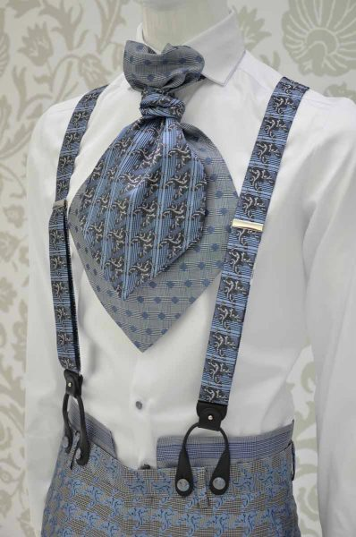 Glamour luxury men's suit Prince of Wales blue white and black 100% made in Italy by Cleofe Finati