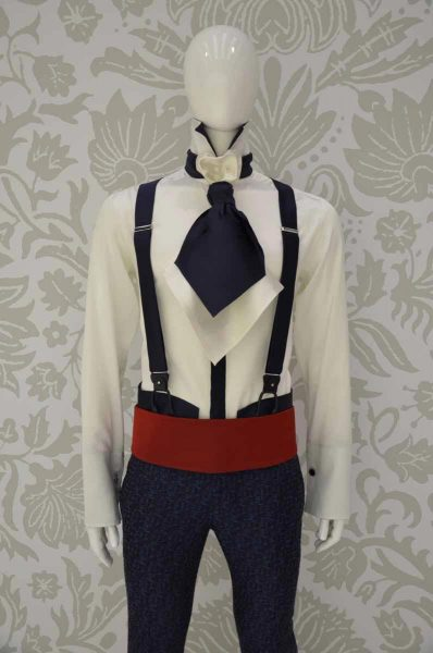 Suspenders sand light blue glamour men's suit midnight blue 100% made in Italy by Cleofe Finati