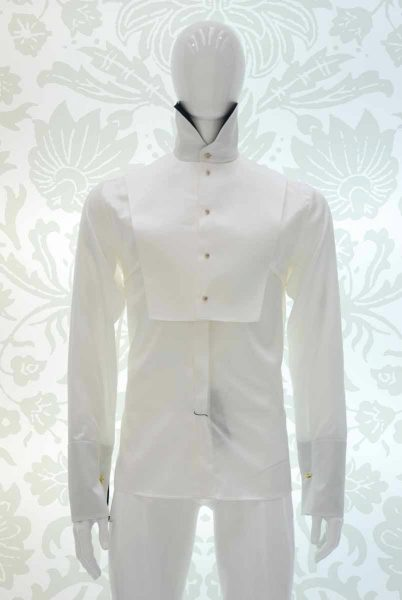 Cream shirt glamour men's suit black and silver white 100% made in Italy by Cleofe Finati