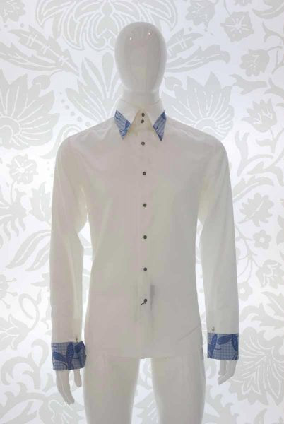 Cream shirt glamour men's suit light blue midnight blue 100% made in Italy by Cleofe Finati