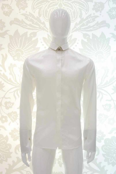 Cream shirt glamour men's suit white and black 100% made in Italy by Cleofe Finati