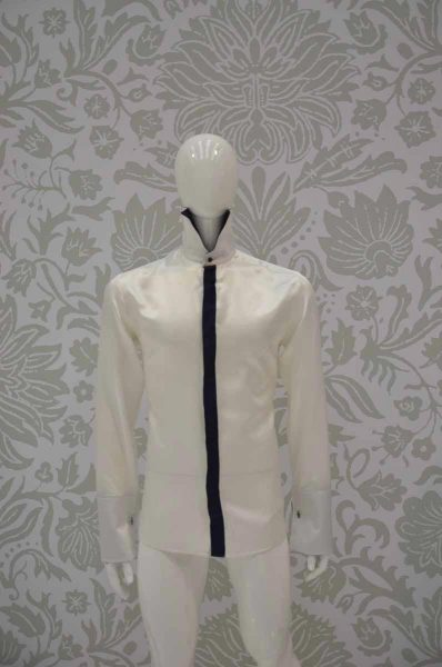 Cream shirt glamour men's suit midnight blue 100% made in Italy by Cleofe Finati