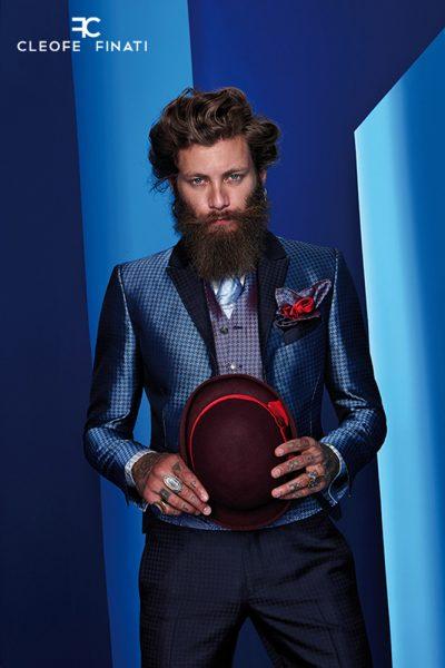 Abito da uomo glamour lusso azzurro e blu notte made in Italy 100% by Cleofe Finati