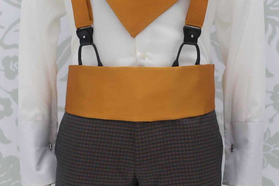 Cintura fascia in tessuto ocra dorato abito da uomo glamour grigio antracite e ocra made in Italy 100% by Cleofe Finati