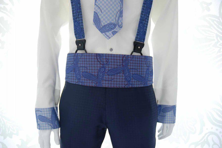 Cintura fascia in tessuto blu ivory abito da uomo glamour azzurro e blu notte made in Italy 100% by Cleofe Finati