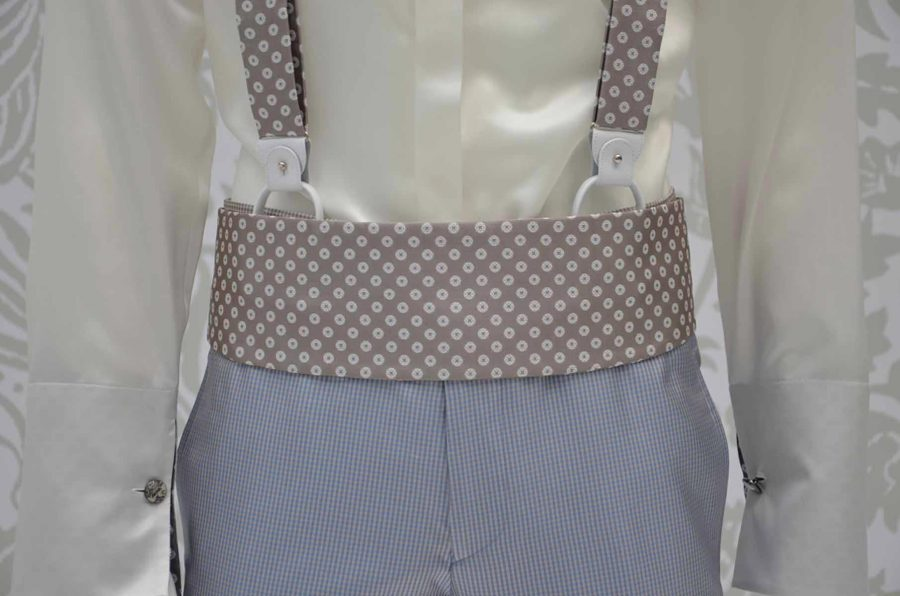 Cintura fascia in tessuto sabbia panna abito da uomo glamour bianco e sabbia made in Italy 100% by Cleofe Finati