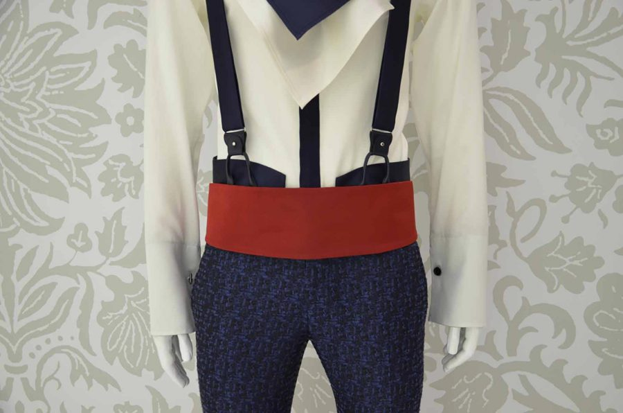Red fabric belt glamour luxury men's suit midnight blue 100% made in Italy by Cleofe Finati