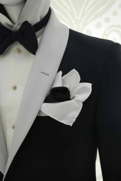 Glamorous luxury men's suit black and silver white 100% made in Italy by Cleofe Finati