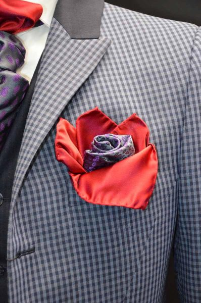 Double pocketchief red grey and purple glamour men's suit blue grey 100% made in Italy by Cleofe Finati