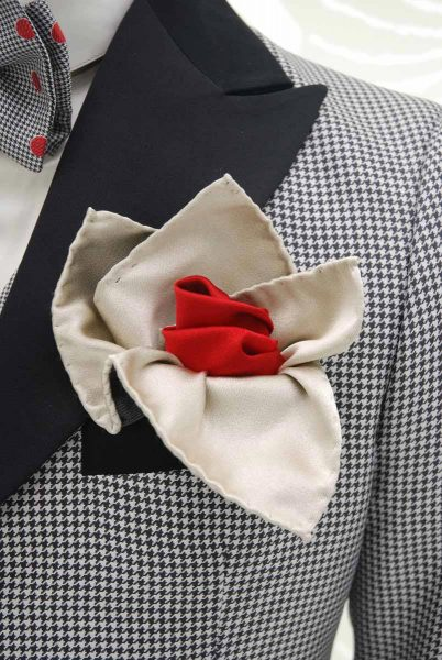 Abito da uomo glamour lusso Pied de Poule bianco e nero made in Italy 100% by Cleofe Finati
