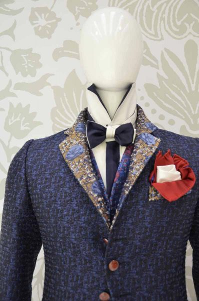 Double pocketchief red and white glamour men's suit midnight blue 100% made in Italy by Cleofe Finati