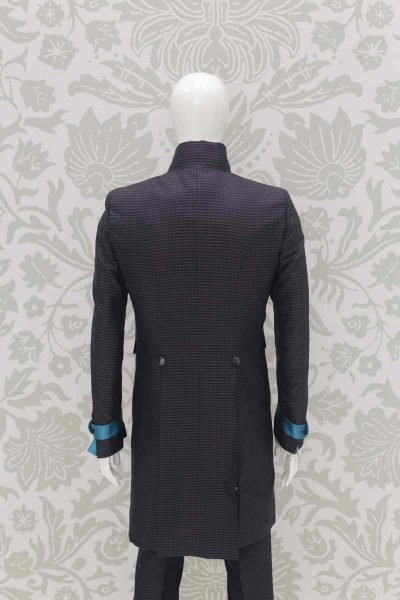 Glamour anthracite grey and turquoise men's suit jacket 100% made in Italy by Cleofe Finati
