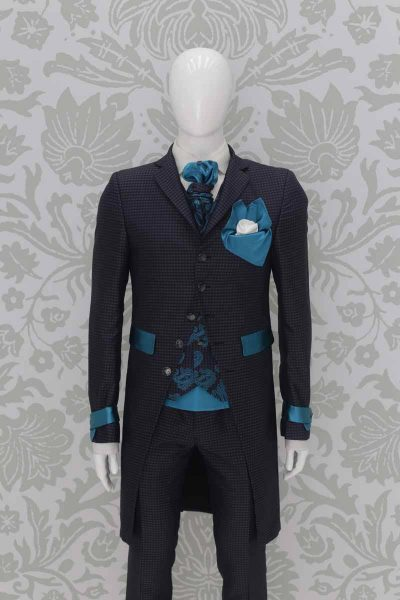 Glamorous luxury blue grey turquoise chequered men's suit 100% made in Italy by Cleofe Finati