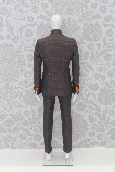 Anthracite grey and golden ochre glamorous men's suit jacket 100% made in Italy by Cleofe Finati