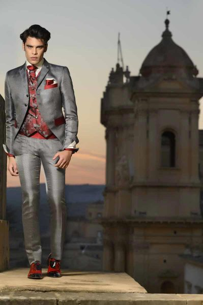Glamorous luxury grey and red men's suit jacket 100% made in Italy by Cleofe Finati