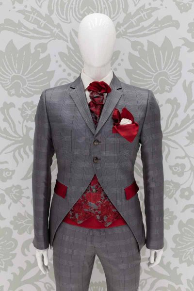 Glamorous luxury Prince of Wales grey red men's suit 100% made in Italy by Cleofe Finati