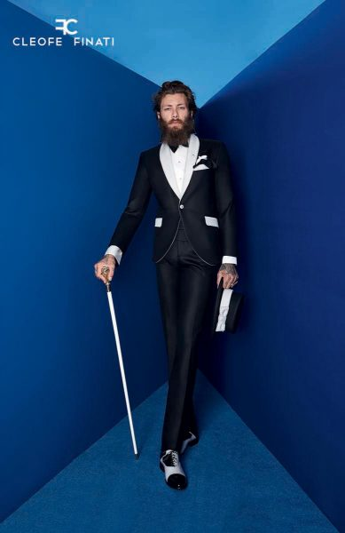 Tuxedo jacket glamour men's suit black and silver white 100% made in Italy by Cleofe Finati
