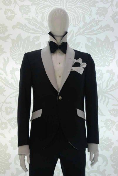 Giacca smoking abito da uomo glamour nero e bianco silver made in Italy 100% by Cleofe Finati