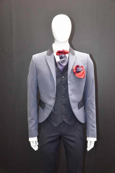 Glamour luxury men's suit chequered grey midnight blue 100% made in Italy by Cleofe Finati