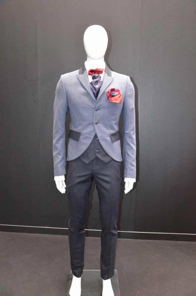 Glamorous luxury grey and blue men's suit jacket 100% made in Italy by Cleofe Finati