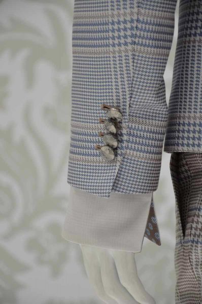 Glamour men's suit Prince of Wales light blue sand and white 100% made in Italy by Cleofe Finati