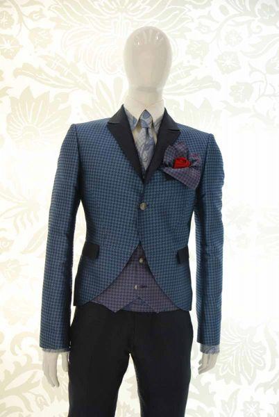 Glamorous luxury men's suit jacket light blue and midnight blue 100% made in Italy by Cleofe Finati