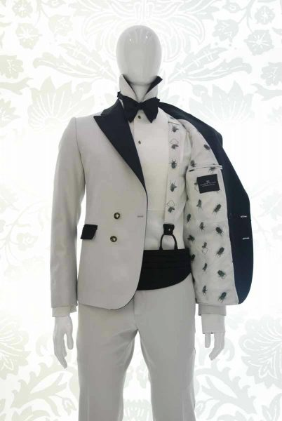 Tuxedo jacket for men, glamour white, silver and black 100% made in Italy by Cleofe Finati