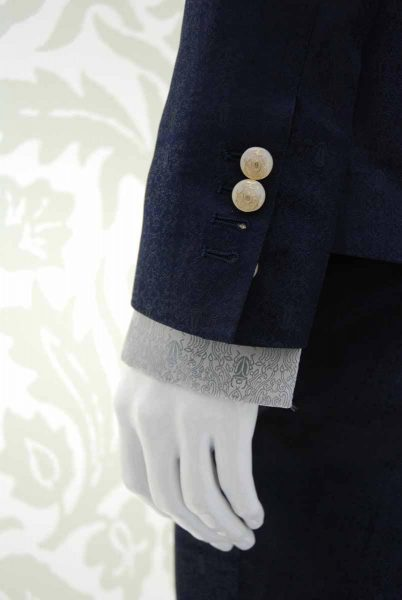Glamorous luxury men's suit jacket midnight blue 100% made in Italy by Cleofe Finati