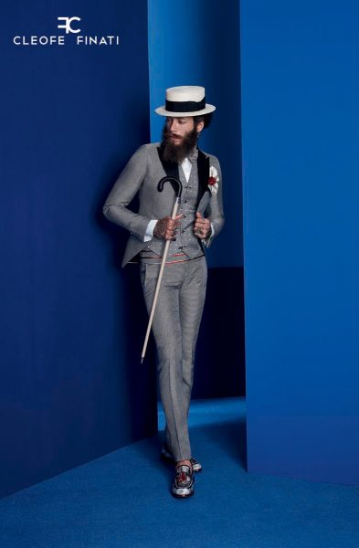 Glamour men's suit white and black hound's tooth 100% made in Italy by Cleofe Finati