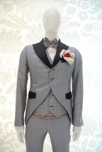 Giacca abito da uomo glamour Pied de Poule bianco e nero made in Italy 100% by Cleofe Finati