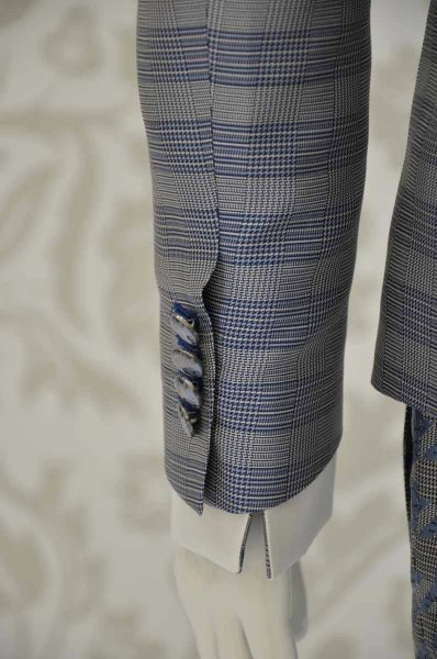 Prince of Wales glamorous men's suit jacket blue white and black 100% made in Italy by Cleofe Finati