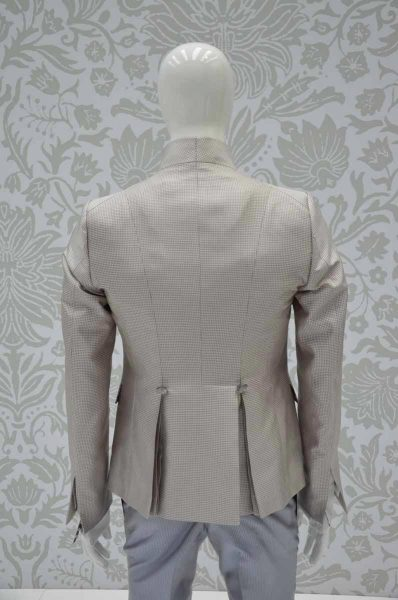 Glamorous luxury men's suit Vichy white and sand 100% made in Italy by Cleofe Finati
