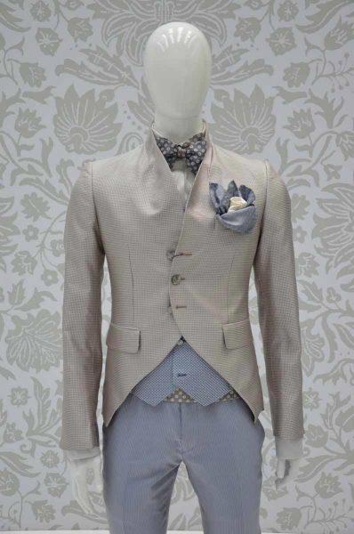 Giacca abito da uomo glamour Vichy bianco e sabbia made in Italy 100% by Cleofe Finati