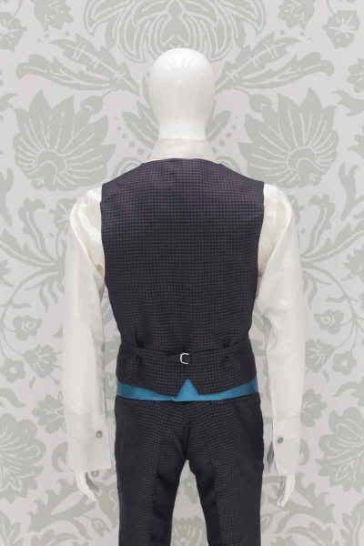 Waistcoat vest glamour men's anthracite grey turquoise 100% made in Italy by Cleofe Finati