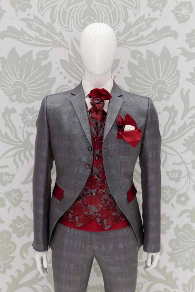 Waistcoat vest glamour men's suit fire red 100% made in Italy by Cleofe Finati