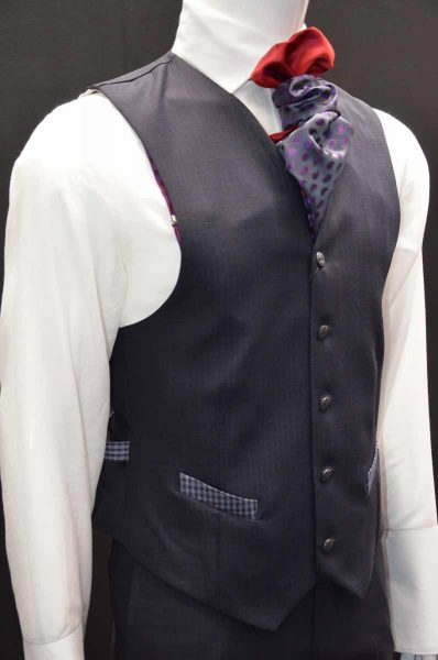 Waistcoat vest glamour men's suit blue grey 100% made in Italy by Cleofe Finati