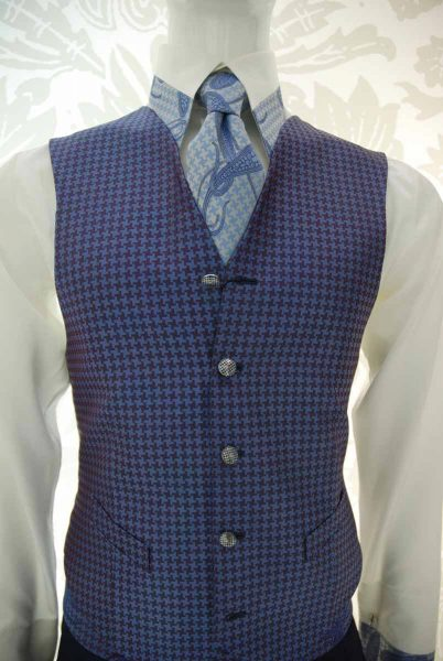 Waistcoat vest glamour men's suit light blue and midnight blue 100% made in Italy by Cleofe Finati