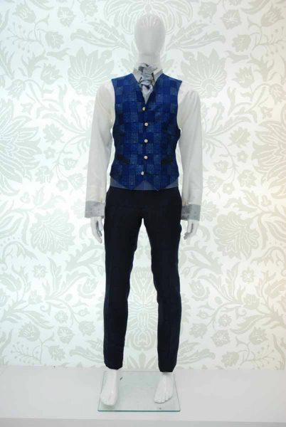 Waistcoat vest glamour men's suit midnight blue 100% made in Italy by Cleofe Finati