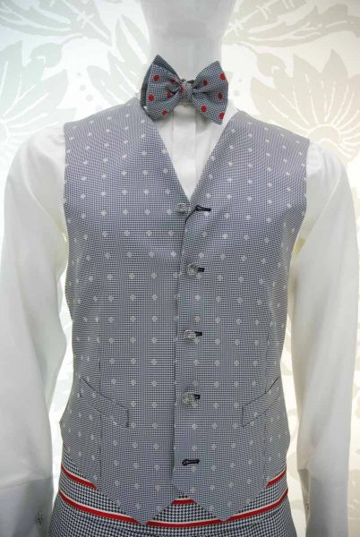Waistcoat vest glamour men's suit white and black 100% made in Italy by Cleofe Finati