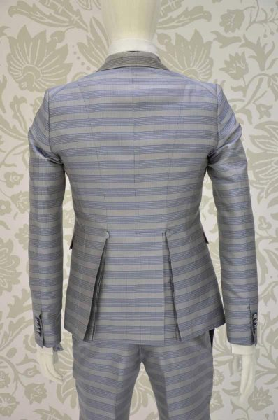 Waistcoat vest glamour men's suit blue white and black 100% made in Italy by Cleofe Finati