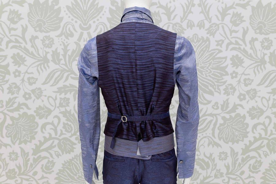 Waistcoat vest glamour men's suit cobalt blue 100% made in Italy by Cleofe Finati