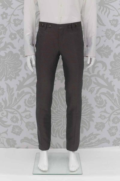 Glamorous luxury chequered man suit in anthracite grey ochre gold 100% made in Italy by Cleofe Finati