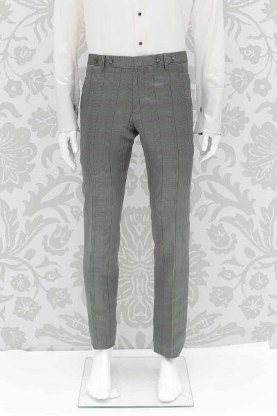 Glamorous luxury Prince of Wales grey blue men's suit 100% made in Italy by Cleofe Finati