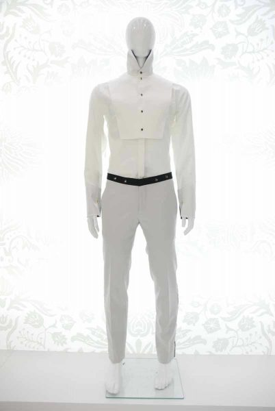 Glamour men's suit trousers silver white and black 100% made in Italy by Cleofe Finati