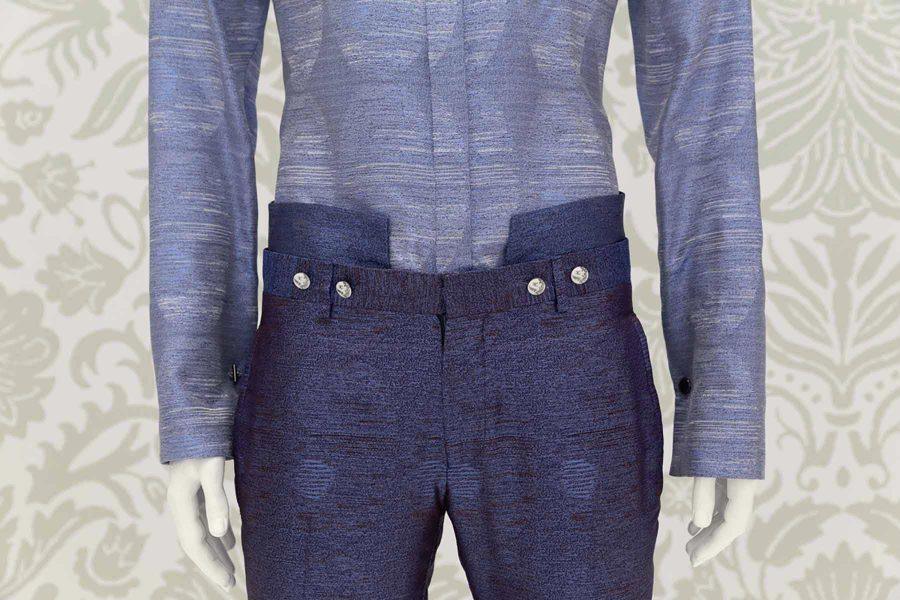 Luxury glamour men's suit cobalt blue 100% made in Italy by Cleofe Finati