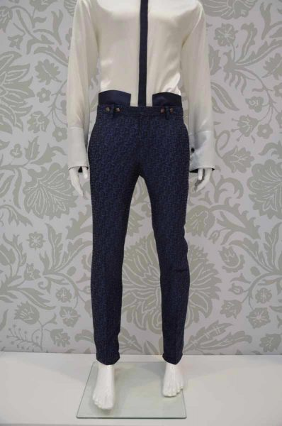 Trousers glamour men's suit midnight blue 100% made in Italy by Cleofe Finati