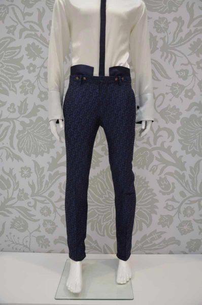 Pantalone abito da uomo glamour blu notte made in Italy 100% by Cleofe Finati