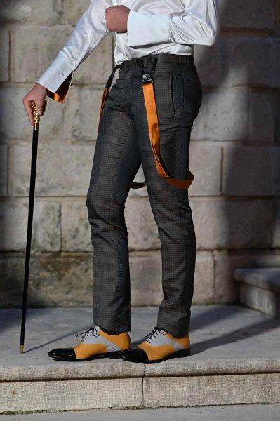 Scarpe stringate ocra bianco e nero abito da uomo glamour grigio antracite e ocra made in Italy 100% by Cleofe Finati
