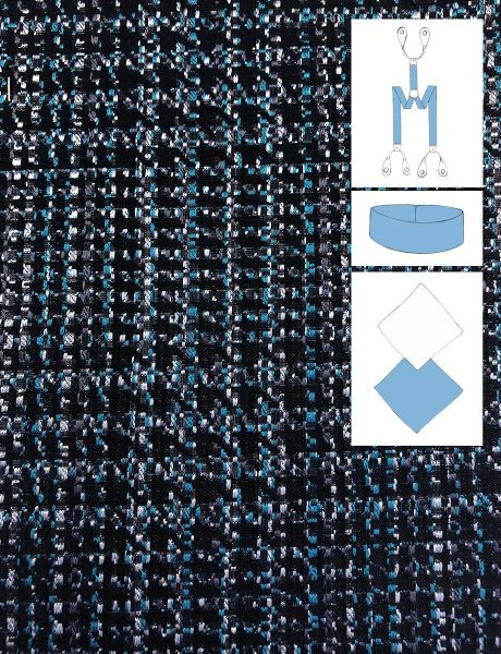 SILK JACQUARD GRAINED EFFECT BLACK BLUE AND WHITE