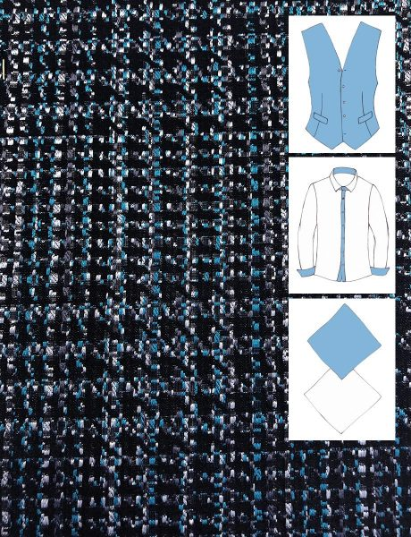 SILK JACQUARD EFFECT SHELLED BLACK BLUE AND WHITE